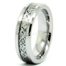 His & Her Dragon Celtic Silver Tungsten Carbide Ring Mens Wedding Band 6mm
