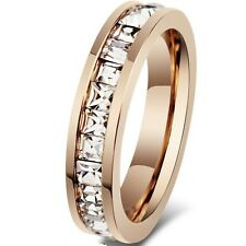SZ 5-10 6MM Rose Gold Stainless Steel Ring Square Princess Wedding Engagement