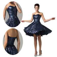 QUEEN Style Navy Blue Short Bridesmaid Ball Evening Prom Cocktail Party Dresses