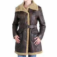BLAUER USA Damen Winter Ledermantel Vintage Brown 0689