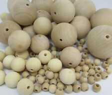 Natural Wooden Craft Balls Wood Beads with hole 10mm to 50mm Diameter