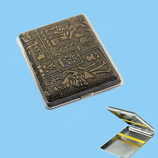 LADIES BLACK/BRONZE EGYPTIAN PRINT CIGARETTE CASE HOLDS 14/16 CIGS