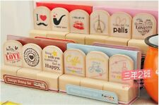 3Pcs Creative Cartoon Wooden Wood Rubber Stamp Stamper Seal Craft Diary AB