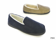 NEW MENS BEIGE NAVY WARM FAUX FUR SUEDE MOCCASIN STYLE SNUGG SLIPPERS SIZES 6-12