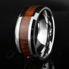 Silver Tungsten Carbide Wood Inlay Wedding Band Bridal Ring Comfort Fit MEN 8MM
