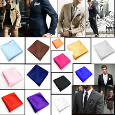 Gentleman Mens Silk Satin Pocket Square Hankerchief Hanky Plain Solid Color New