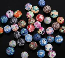40pcs Mixed Randomly  Polymer Clay Fimo Flower Round Loose Spacer Beads 8mm