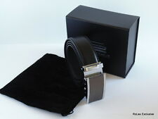 Custom Mens New Leather Black Suit Trouser Belt With Silver Buckle in Gift Box