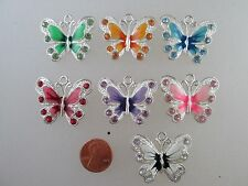USA Silver Plated Enamel Rhinestone Crystal Butterfly Charm Pendant Necklace