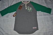 MITCHELL & NESS BOSTON CELTICS JUMPBALL MEN'S 3/4 SLEEVE HENLEY AUTHENTIC NEW