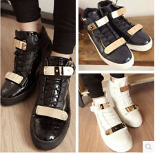 New Fashion Mens Lace Up High Top Sneakers Metal Decor Platform Wedge Punk Shoes