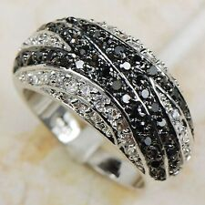White Black Sapphire 925 Sterling Silver Gemstone Ring Size 6 7 8 9 10 11 12
