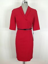 Calvin Klein  NWT Elegant  RED Dress with Faux Wrap ,3/4 sleeves and Black belt