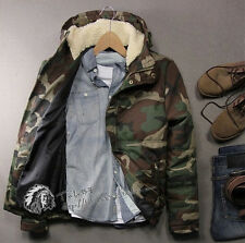Mens Womens Hooded Camouflage Gay Thick Padded Sport Jacket Cambat Military Coat