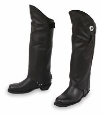 KNEE HIGH COWHIDE LEATHER HALF CHAPS w/CONCHO LEG WARMER FOR MENS WOMENS - K1Z