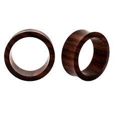 PAIR HOLLOW Natural Sono Wood ORGANIC PLUGS Tunnels Flesh