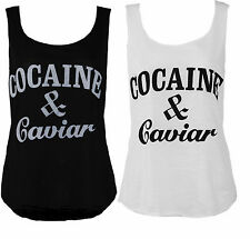 NEW LADIES SUMMER COCAINE AND CAVIAR PRINT TOP WOMENS SLEEVELESS VEST