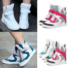 Womens New Mesh High Top Hide Velcro Wedge Sneakers Skateboard Ankle Boots Shoes