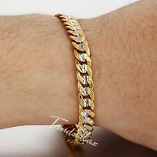 6mm Womens Mens Chain Hammered Curb Link Silver Yellow Gold Filled GF Bracelet