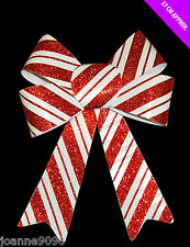 FESTIVE GLITTER CHRISTMAS TREE CANDY CANE RED AND WHITE HANGING BOW DECORATION