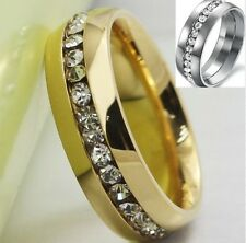 18K Gold Plated Stainless Steel Ring Band Size 5-12 Men Women Wedding Solitaire
