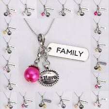 US HOT Floating Charms Pearl Keyring Pendent Glass Locket Necklace Chain