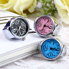 Womens Delicate Steel Round Dial Trendy Modish Elastic Quartz Finger Ring Watch