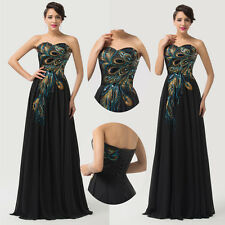 Glam ❤Peacock Applique❤ Evening Prom Cocktail Graduation Party Homecoming Dress