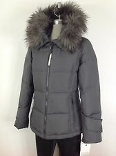 Calvin Klein NWT Titanium Down Jacket with Hood and Removable Faux fur ,
