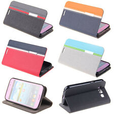 BookStyle Deluxe Wallet Leather Flip Skin Case Cover Stand Card Slot For Samsung