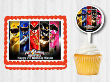 POWER RANGERS Edible Birthday Party Cake Topper Cupcake Plastic Pick Sticker