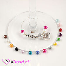 Personalised Wine Glass Charms Wedding Hen Party Markers Identifiers Hoops Rings