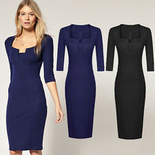 Mature Women's Party Wear To Work Business Cocktail Sheath Body-con Pencil Dress