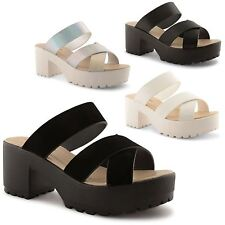 Ladies Womens Chunky Cleated Sole Platform Strappy Open Toe Sandals Mule UK 3-8