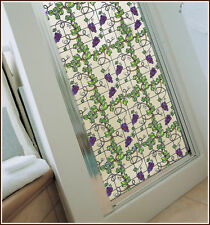 Grapes Grapevine Stained Glass Window Film Adhesive-Free Cling Vineyard