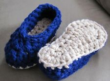 Handmade Crochet Slippers Navy Blue Tan Toddler to Adult Size Knit House Shoes