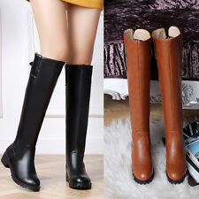 Womens Low Heel Buckle Pull On Riding Combat New Knee High Boots Shoes Plus Sz