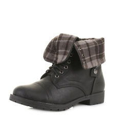 Womens Fold Over Military Lace Up Worker Leather Style Ladies Ankle Boots Size