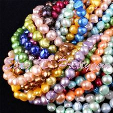 """7-8mm Natural Freeform Cultured Freshwater Pearl Gemstone Beads Loose Strand 15"""""""