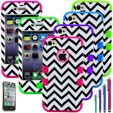 Chevron Shockproof Dirt Dust Proof Hard Cover Case for iPhone 4 4S + Pen+ Film