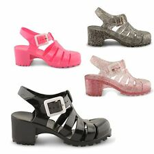 NEW GIRLS LOW BLOCK HEEL CUT OUT JELLY JELLIES BUCKLE SANDALS FLIP FLOPS UK 10-2