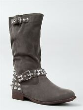 NEW DOLLHOUSE ROCKSTAR Women Hot Edgy Studded Buckle Mid Calf Boot gray sz Taupe