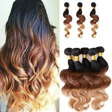 2014New 3Bundles 100% BRAZILIAN virgin unprocessed human hair body wave 1b33#27#
