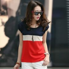 Women Fashion Casual Loose Colors Collision Short Sleeve T-Shirt Tops Blouse