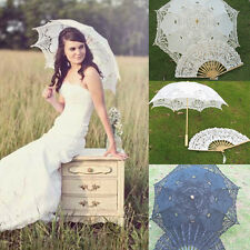Beautiful Lace Parasol Handcraft Umbrella Hand Fan For Bridal Wedding Decoration