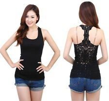 Women Girls No Sleeves Backless Blouse Cami T-Shirt  Lace Flower Tank Top Tee JD