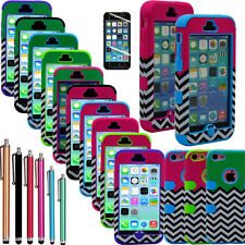 Hybrid Chevron Print Rubber Rugged Combo Matte Case Hard Cover for iPhone 5C C