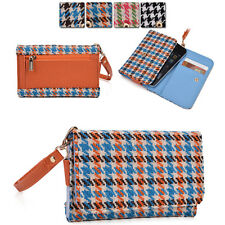 Kroo Ladie-s Houndstooth Pattern Fad Fashion Purse Case AM A fits Mobile Cell