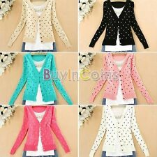 Contrast Down Heart-Shape Pattern Knitted Cotton Sweaters Cardigan Tops RTUS