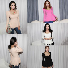 Women's Fashion Sweetheart Neck Puff Sleeve Frill Fitted Peplum Tops Blouse